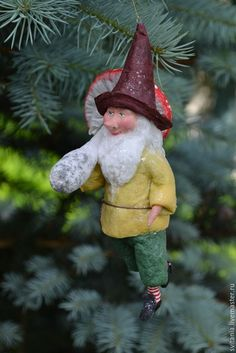 Buy Cotton Christmas toy Gnome with mushroom on Livemaster online shop