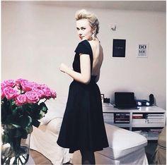 Beautiful everining black dress. little black dress. Backless stunning dress. skater skirt dress
