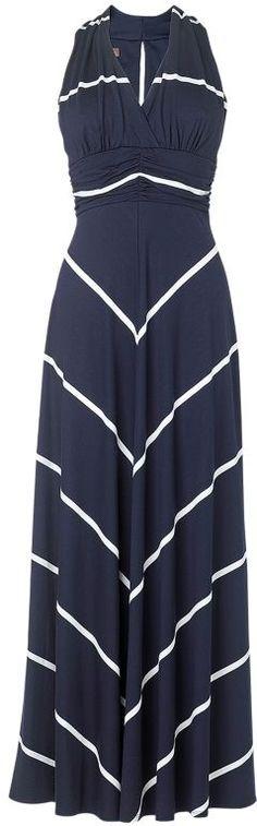 Navy Blue V Neck Cutout Back Chevron Stripe Maxi Dress