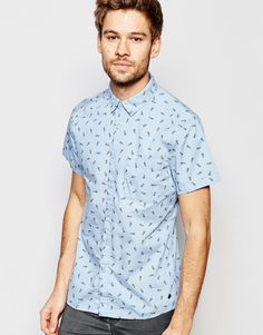 Esprit+Short+Sleeve+Shirt+with+All+Over+Pineapple+Print