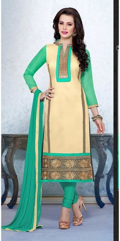 Chanderi Cotton Border Work Yellow & Green Semi Stitched Straight Suit #georgette   #anarkali #designer #suits #georgette