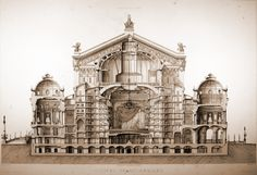 Section through Garnier's new Opera House, Paris