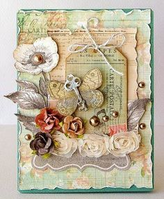 Ganik's beautiful Shabby Chic handmade card for Vintage Cafe Card Challenge 2014 #vintagecafecard