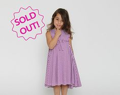 "New, Summer, Girls dress, Purple  & white stripes, twirly dress, toddler dress -""OUT OF  STOCK"""