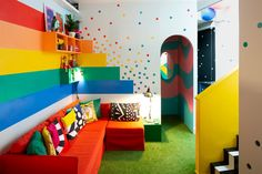 If you're looking for a bit of magic or an escape, you might want to check out the rainbow-filled retreat, Big Bit, in the UK seaside town of Margate. Ideas Decoracion Salon, Playroom Design, Kid Playroom, Toy Rooms, Blue Walls, Matilda, Girls Bedroom, Kids Room, Room Decor