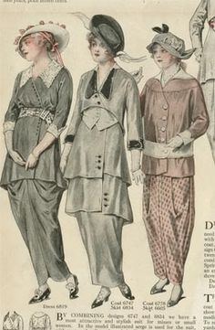1915 period dress   Fashion Plates Spring 1915 -- The pale pink ensemble on the far right ...