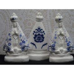 KIT Nossa Senhora Aparecida Azul Port1 - alt7 x 4 em Gesso com Decoupagem porcelanato para lembranças de Casamento, Noivado, Nascimento, Batizados, Bodas ou para outros momentos especiais!