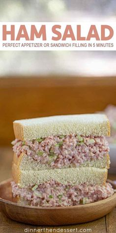 Jan 2020 - Ham Salad is a delicious appetizer or sandwich filling (perfect for holiday leftovers!) made with diced ham, relish, celery, and mayonnaise in 5 minutes. Ham Salad Recipes, Dessert Recipes, Desserts, Ham Sandwich Recipes, Brunch Recipes, Yummy Recipes, Dinner Recipes, Sandwiches, Honey Baked Ham