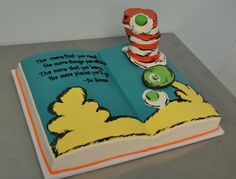 """make the cake to resemble one of the pages of """"oh the places you'll go""""? @Kathy Riley  Dr. Seuss Cake"""
