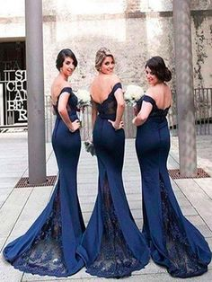 Long Bridesmaid dress,Navy blue bridesmaid dress, Off the shoulder bridesmaid dress, Sexy bridesmaid dress, Elegant bridesmaid dresses. PD2194