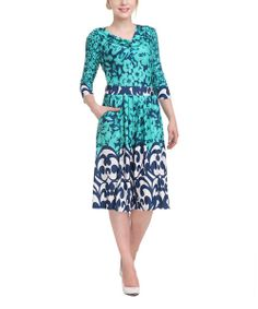 Take+a+look+at+the+Teal+Floral+Drape+Neck+Dress+on+#zulily+today!