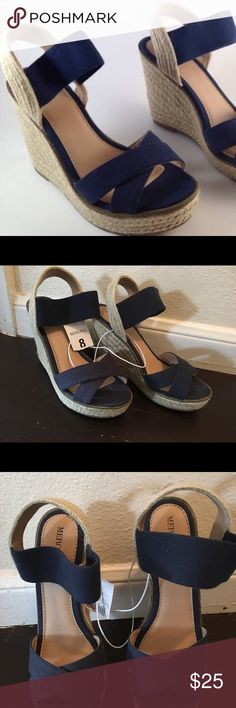 Merona navy blue wedges brand new never been worn Merona Navy blue wedges size 8 for 4 1/2 inches half heel brand new never been worn❤️ It's super comfortable Merona Shoes Wedges