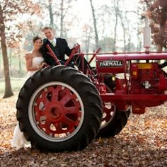 This is a sweet farm wedding in the fall, complete with a red tractor trailer and a tiny chapel.
