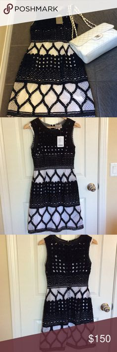 Anthropologie Baraschi Dress Gorgeous Yoana Baraschi Basketweave knee length dress in black and white with built-in white cotton slip. Back zipper. Perfect for both daytime and evening wear! Feminine and sophisticated🌸 Yoana Baraschi Dresses