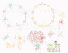 Watercolor Hand Drawn Flowers, Bows and Wreaths - Digital drawing for your paper crafts and special events. Instant Download by Etsy. $4.50, via Etsy.