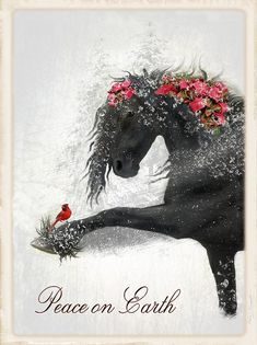 Peace On Earth Art Print by Fran J Scott. All prints are professionally printed, packaged, and shipped within 3 - 4 business days. Choose from multiple sizes and hundreds of frame and mat options. Christmas Horses, Cowboy Christmas, Christmas Animals, Country Christmas, Pretty Horses, Horse Love, Beautiful Horses, Christmas Scenes, Christmas Pictures