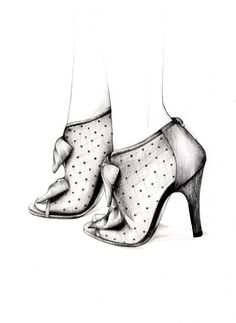 Shoe Sketch - fashion illustration; footwear drawing // Caroline Andrieu