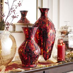 Red Mosaic Vases