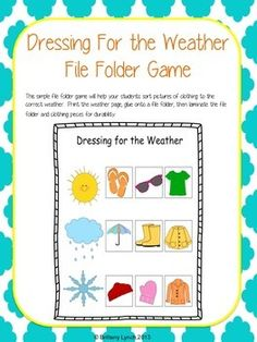 DRESSING FOR THE WEATHER (FILE FOLDER GAME) - TeachersPayTeachers.com