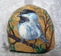 """Rock paperweight, painted with acrylic and has several coats of polyurethane clear satin to protect the painting.  Measures aprox 2.75"""" tall, 2.75"""" wide. Rock is cut on the bottom so it will stand upright.  An original painting by Mary Jane Harman.  www.HarmanArt.com"""