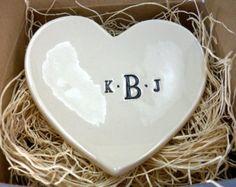 CUSTOM ring holder, ring dish, LARGE Monogram jewelry holder,  Black and White Pottery,  Gift Boxed