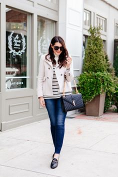 Striped turtleneck and Joie Peacoat