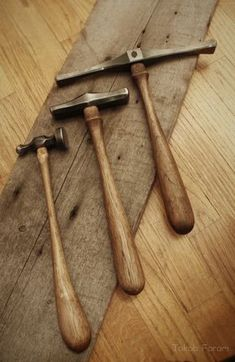 """faramforge: """"Three hammers I just finished. Two raising hammers and a chasing hammer. I used 1045, 4340 and hickory for the materials. """""""
