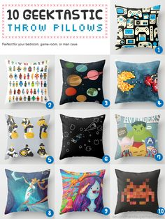 10 GEEKTASTIC THROW PILLOWS -- Super Adorable -- I need all of these! Except Sailor Moon.