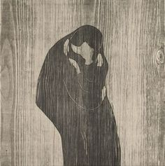 Edvard Munch   der Kuss - The Kiss   1902   © Albertina, Wien #love #couples #art #arthistory #munch #expressionism #drawings #graphicart #prints #albertina