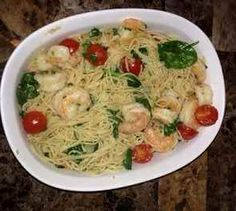 """I have a garlic shrimp pasta recipe I love but it calls for a large amount of butter. This week I tried this """"healthified"""" garlic shrimp pasta recipe and loved it!"""