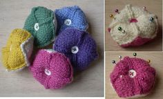 Pincushion-This pattern is available as a free Ravelry download. These little pincushions are made up of eight identical squares knitted in fabric stitch. Using two colours highlights the way they are sewn together, giving a zigzag pattern all round the edge.