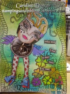 art journal by Caroline Duncan ~ stampingsandinklings.blogspot.com ~ BacktoBack Retreat, Dylusions, Dyan Reaveley