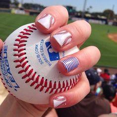 Baseball nail art, Jamberry nails. Www.Bethroan.Jamberrynails.Net #curveballJN, #NavySkinnyJN