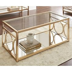 Steve Silver Olympia Glass Top Coffee Table in Gold Chrom...