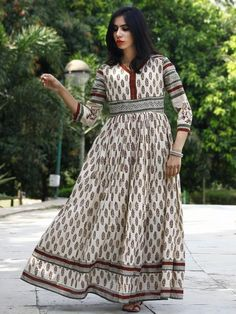 Ivory Olive Green Maroon Black Hand Block Printed Long Cotton Dress with Gathers & Stand Collar - DS03F002