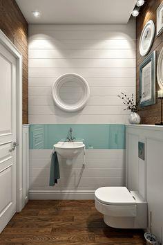 Дизайн маленькой туалетной комнаты в загородном доме