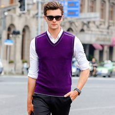 New Men's Fashion Clothing for Autumn Winter V Neck Wool Sweater Pullover Tops Casual Sleeveless Basic Knit Vest 911
