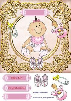 Baby girl on Craftsuprint designed by Donna Kelly - 8x8 baby girl card front with embelishments, includes three lables, two with sentiments, one blank - Now available for download!