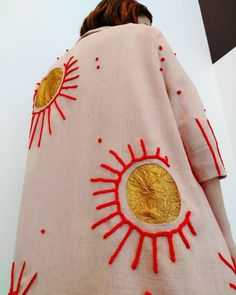 Made to Order: Reconciliation of the Moon and Sun~~Hand-Embroidered, Reverse Appliquéd, Dusty Pink & Gold Spring Coat - Fashion Combine Fashion Details, Look Fashion, Diy Fashion, Ideias Fashion, Womens Fashion, Trendy Fashion, Street Fashion, Face Fashion, Dress Fashion