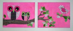 homemade Wall Decor for kids room with Owls & Birds