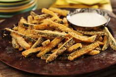 """Baked Panko Coated Zucchini """"Fries"""" — Try this twist on your traditional fries recipe with all the crisp and none of the mess from frying! You'll need zucchini, panko coating mix and a baking pan to get started. Zucchini Sticks, Zucchini Fries, Breaded Zucchini, Bake Zucchini, Kraft Recipes, Fried Vegetables, Veggies, Baking Recipes, Baking Pan"""