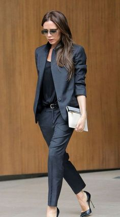 Grey blazer, black silk top, grey trousers