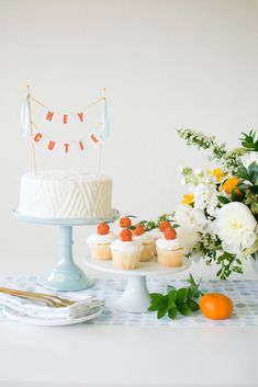 Cake and Cupcakes from Hey Cutie Baby Shower styled by Twinkle Twinkle Little Party Deco Baby Shower, Shower Party, Baby Shower Parties, Baby Shower Themes, Baby Boy Shower, Baby Shower Gifts, Simple Baby Shower, Shower Favors, Party Favors