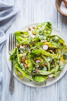 Little Gem Spring Salad with Toasted Seeds & Herbed Goat Cheese - Snixy Kitchen