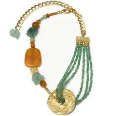 Celosia Orange & Fluorite Tide Pool ($299 AUD free global shipping) This luxurious and bold necklace is made from the following semi-precious stones and findings:  Carnelian from India, Jade from Hong Kong, Agates from Brazil, Fluorite from Hong Kong, Imperial Jasper (Variscite) from the USA, 22k/16k Gold-plated beads & findings from Istanbul, Israel and the USA www.luka.com.au