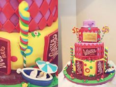Cute cake at a Willy Wonka Party with Such Cute Ideas via Kara's Party Ideas   KarasPartyIdeas.com #CharlieAndTheChocolateFactoryParty #PartyIdeas #Supplies