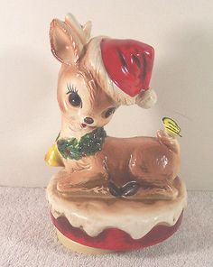 Vintage Ceramic Deer in Santa Hat Butterfly Rotating Music Box White Christmas | eBay
