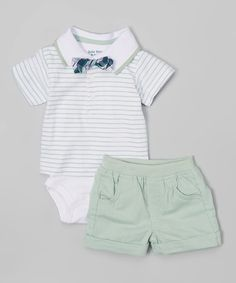 Look at this Green Stripe Polo Bodysuit Set - Infant on #zulily today!