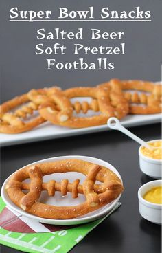 Hungry Happenings: Super Bowl Party Snacks - Salted Beer Soft Pretzel Footballs...uses a tube of Pillsbury Pizza Crust