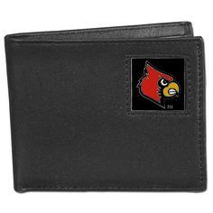 Siskiyou Collegiate Louisville Cardinals Leather Bi-fold Wallet in Gift Box